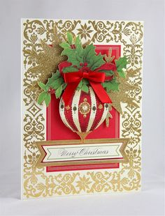 Designs by Robin: Anna Griffin Holiday Trimmings Cards - Day 6! Love the use of half globe in the ornament