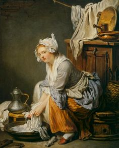 18C American Women: Women doing laundry in the 1700s 1761 Jean-Baptiste Greuze (French painter, 1725-1805) The Laundress