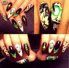 Jamaican print nails