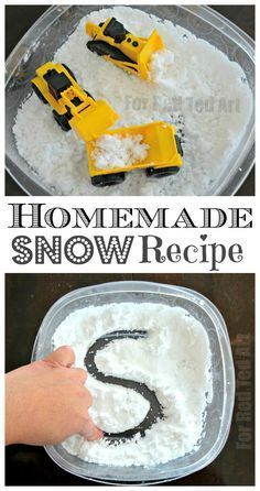How to make homemade snow recipe - this is the EASIEST and QUICKEST fake snow recipe I have seen to date. Perfect for sensory bins and sensory trays for toddlers and preschool. When it is too cold to go out side, bring winter indoors. Snow Activities, Winter Activities For Kids, Toddler Activities, Preschool Winter, Physical Activities, Outdoor Activities, Winter Crafts For Preschoolers, Winter Toddler Crafts, Motor Activities