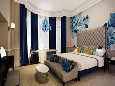 Navy, citron, taupe color scheme--love it!  Classy, comfy, crisp hotel-inspired bedroom