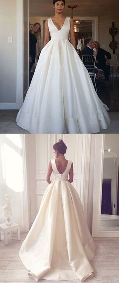 Ball Gown V Neck Open Back Satin Ivory Wedding Dresses with Pockets Elegant Wedding  Dress 53e5a899b905