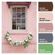 soft pastel whimsy floral dainty sweet bridal baby shower nursery girls bedroom guest room grandmother mothers day easter scheme wedding party bridesmaids pinks browns greens and slate blue Paint colors from #ChipIt by #Sherwin-Williams