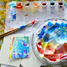The best, easiest, and cheapest DIY marbled paper is done with shaving cream marbling (with video showing it in action). This is one of our all-time favorite art activities for all ages! Painting Activities, Art Activities For Kids, Summer Activities, Indoor Activities, Therapy Activities, Family Activities, Preschool Activities, Fun Crafts, Crafts For Kids
