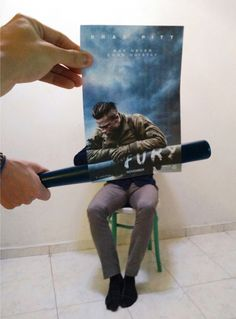 I'm so furious about this bat in my face! #fury #bradpitt