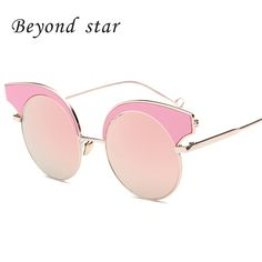 Beyond Star Cat Eye Sunglasses Brand New Design Fashion Sunglasses Metal Frames Women Outdoor Sexy oculos de sol feminino 9084
