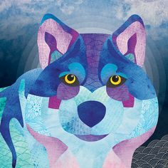 Shadow the Wolf « Shanti Sparrow Flynn & Pip « Shanti Sparrow June & April « Shanti Sparrow Tessellations « Shanti Sparrow, color, pattern. abstract, graphic Design, animal, colour, watercolour, watercolor, shantisparrow, wolf, love, friends, illustration, drawing, art, blue, purple