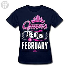 Queens Are Born In February Birthday Women's T-Shirt by Spreadshirt, XL, navy - Birthday shirts (*Amazon Partner-Link)