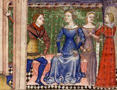 BNF Français 343 - Queste del Saint Graal / Tristan de Léonois  Folio:3v Location:Milan, Italy Dating:1380 - 1385 Institution:Bibliothèque Nationale