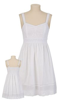 White Eyelet Tank Dress - maurices.com- with a blue cardigan, brown belt and brown boots!
