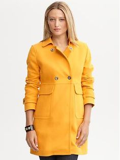 I need this. Now. Double-breasted cotton coat   Banana Republic