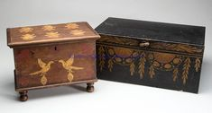 """AMERICAN PAINT-DECORATED BOXES, LOT OF TWO, comprising a poplar miniature example with hinged lid over a dovetailed case raised on turned feet, painted with birds, hearts, and foliate designs; and a sheet-iron bread box with hinged front, painted in a toleware manner. Mid-19th and first quarter 20th century. 7 1/4"""" H, 6 1/2"""" D, 10"""" W; and 6 1/4"""" H, 13 3/4"""" W, 9 3/4"""" D."""