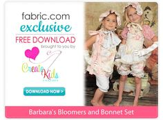 Free pdf sewing pattern from Create Kids Couture!! Barbara's Bloomers and Bonnet pattern are cute together or separate. These bloomers are great for under dresses, too!
