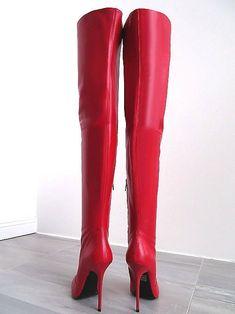 LANG LEDER OVERKNEE Stiefel 1969 Italy X35 Boots High Heels