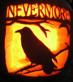 Edgar Allan Poe - the Raven -Nevermore Halloween pumpkin. For lovers of poetry Halloween Pumpkin Stencils, Pumpkin Carving Party, Amazing Pumpkin Carving, Pumpkin Art, Halloween Pumpkins, Pumpkin Carvings, Pumpkin Ideas, Pumpkin Designs, Pumpkin Patterns