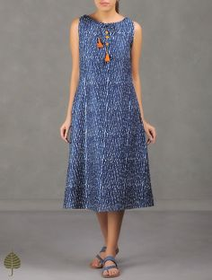 Buy Indigo White Natural Dyed Dabu Printed Chanderi Dress with Pockets by Jaypore The Label Effect dresses and tops Online at Jaypore.com
