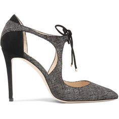 Jimmy Choo Vanessa 100 cutout textured-leather and suede pumps ($750) via Polyvore featuring shoes, pumps, grey, gray suede pumps, suede shoes, grey suede pumps, high heel stilettos and heels stilettos