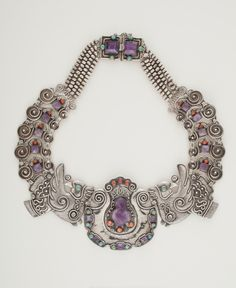 """Pendant Brooch Necklace   Matilde Poulat. """"Birds"""". Silver, amethyst, coral, turquoise. ca. 1940"""