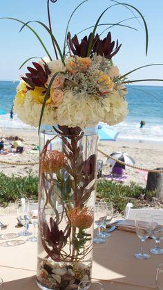 Beach theme wedding centerpiece