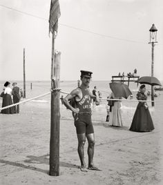 """TOTALLY HOT!  Men without shirts were banned from the beaches in Atlantic City, New Jersey, the reason being that the city didn't want """"gorillas on our beaches."""" Only in 1937 did men actually have the right to go topless with their swimming trunks."""