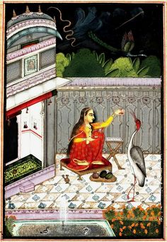 "Desakar Ragini.    About 1760  Bundi or Kota, Rajasthan, Northern India. Obverse: at top, in Devenagari: ""Desakar, Ragini of Hindola: to be sung in the first quarter of the day."""