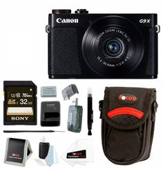 Canon PowerShot G9 X 20.2 MP Digital Camera (Black) with 32GB SDHC Card and Focus Accessory Bundle. Bundle Includes: Canon PowerShot G9X Digital Camera (Black) : Sony 32GB Class 10 Memory Card : High Speed USB 2.0 Card Reader : Camera Case : Lens Pen : Cleaning Accessory Kit. Ultra-slim, lightweight and pocket-size camera with intuitive LCD touch panel. Capture stunning 1080p Full HD video (60p/30p/24p options) for lifelike images and convenient playback on an HDTV via the HDMI output....