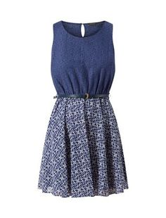Navy 2 in 1 Lace Tile Print Belted Skater Dress