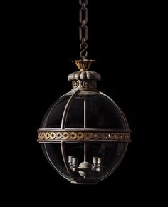 A Small Version Of The Original Globe Hanging Lantern By Jamb Ltd Stunningly Decorated With Gilt Brass Guilloche