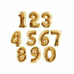 giant gold balloon numbers - love these for b-day or anniversary parties!!