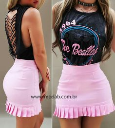 Cute Skirt Outfits, Hot Outfits, Cute Skirts, Simple Outfits, Girl Outfits, Casual Outfits, Fashion Outfits, Black Leather Pencil Skirt, African Print Fashion