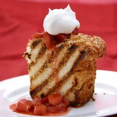 Grilled angel food cakeby mayoclinlc: Angel food cake is a low-fat, airy dessert that is the perfect finish to a summer meal. If you're using the grill for dinner, grill the angel food cake after you finish your meal. Or, if you prefer, broil the angel food cake until it browns.  #Cake #Angel_Food #Low_Fat