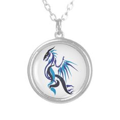 Dragon Fire Jewelry #dragon #flames #fire #blue #necklace