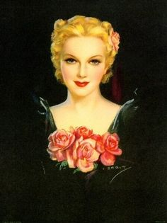 Jules Erbit 1950s portrait with roses #vintage #illustration #roses #art