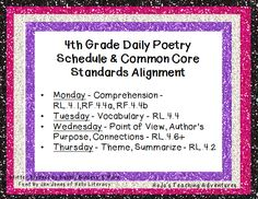 Add More Poetry into Your Day! This plan aligns with Common Core standards and the blog post shows you were to purchase the poems for an entire school year!