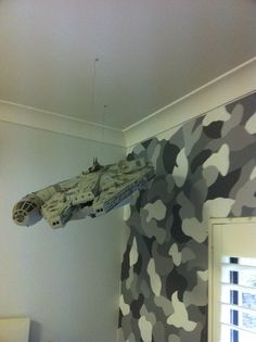 A camouflage wall I painted in my son's room...