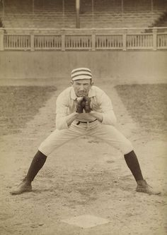 Baseball history photo: 1887 - Long-time Philadelphia Phillies catcher Jack Clements, a left-handed thrower, demonstrates his catching technique. All catchers wore masks by the 1880's; however the gloves depicted are all that were worn during games. Clements played 16 seasons and appeared in 1157 games before retiring after the 1900 season. Note the shape and position of the pre-1900 home base.