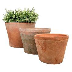Esschert Design Terracotta Pot Set van 3 – L - Modern Jardim Vertical Diy, Vertical Garden Diy, One Kings Lane, Fallen Fruits, Beton Diy, Esschert Design, Pot Sets, Clay Pots, Boutique