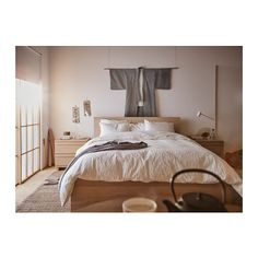 MALM Bed frame, high White stained oak veneer/luröy 180 x 200 cm - IKEA High Bed Frame, Malm Bed Frame, Bed Frame And Headboard, Bed Frames, Oak Bedroom, Ikea Bedroom, Bedroom Furniture, Bedroom Decor, Ikea Beds