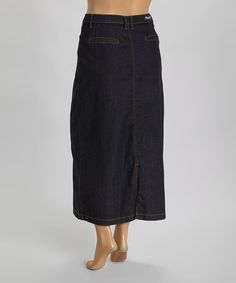 This Black Denim Skirt - Plus is perfect! #zulilyfinds