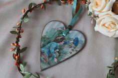 Wooden romantic heart Valentine gift Love ornament Decoupage heart Girlfriend present Hanging heart Valentine decor Valentines day gift