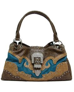 Turquoise and brown purse with tooled accents, rhinestones, and studs. Two zippered compartments and one snapped compartment. Three inside pockets and a back zippered pocket.