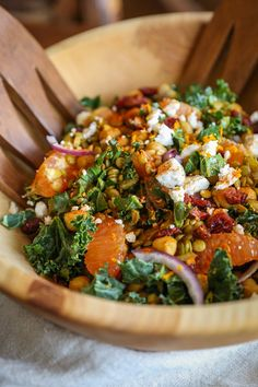 Curried Lentil, Chickpea, and Kale Salad with Citrus Dressing | TheRoastedRoot.net OMET THE FETA TO MAKE IT VEGAN :D