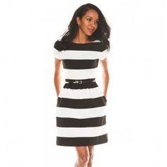 ELLE Striped Fit & Flare Ponte Dress
