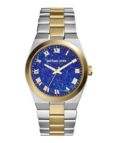 Mid-Size Channing Silver Color/Golden Stainless Steel Three-Hand Watch by Michael Kors at Neiman Marcus.