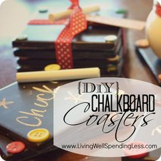 DiY Chalkboard Coasters {Handmade Gift Idea}  Love these!  Perfect hostess or teacher gift; great project to do with kids!  #homemade #teacher #gift #idea