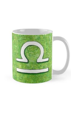 """""""Zodiac sign : Libra"""" Mug by Savousepate on Redbubble #mug #astrology #astrologicalsign #zodiacsign #libra #green #white #watercolorpainting"""