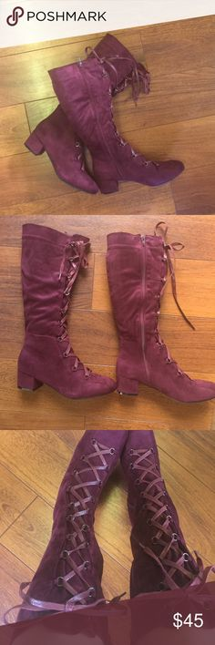 """Burgundy Lace Up Boots. - Brand new. Never used, only tried on. - Burgundy color. - Size 11 but will fit size 10. - 2"""" heel. - 15"""" shaft. - 15.75"""" circumference. - Lace up/zip closure. - trades. - PRICE FIRM unless bundled. Yoki Shoes Lace Up Boots"""