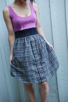 This seems like such a great and easy idea to make!  Upcycled dress made out of gray and purple plaid mens dress shirt paired with a pink tank top - It's a great Back to school outfit. One of a kind.