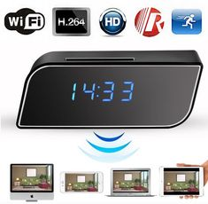 Buy WiFi Hidden Camera Clock -Full HD Wireless Spy Camera Alarm Clock Mini IP Camera Home Security Surveillance Camera Recorder for Viewing on Smartphone at Discounted Prices ✓ FREE DELIVERY possible on eligible purchases. Home Security Tips, Wireless Home Security Systems, Security Surveillance, Security Alarm, Surveillance System, Ip Camera, Video Camera, Wireless Spy Camera, Bedside Clock