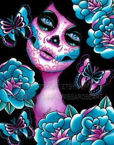 Memento Art Print  - 5x7, 8x10, or 11x14 - Day of the Dead Sugar Skull Girl Tattoo Flash on Etsy, $5.00